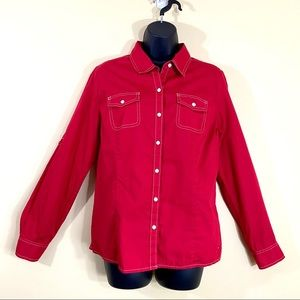 Tommy Hilfiger Red Button Down Shirt Flap Pockets